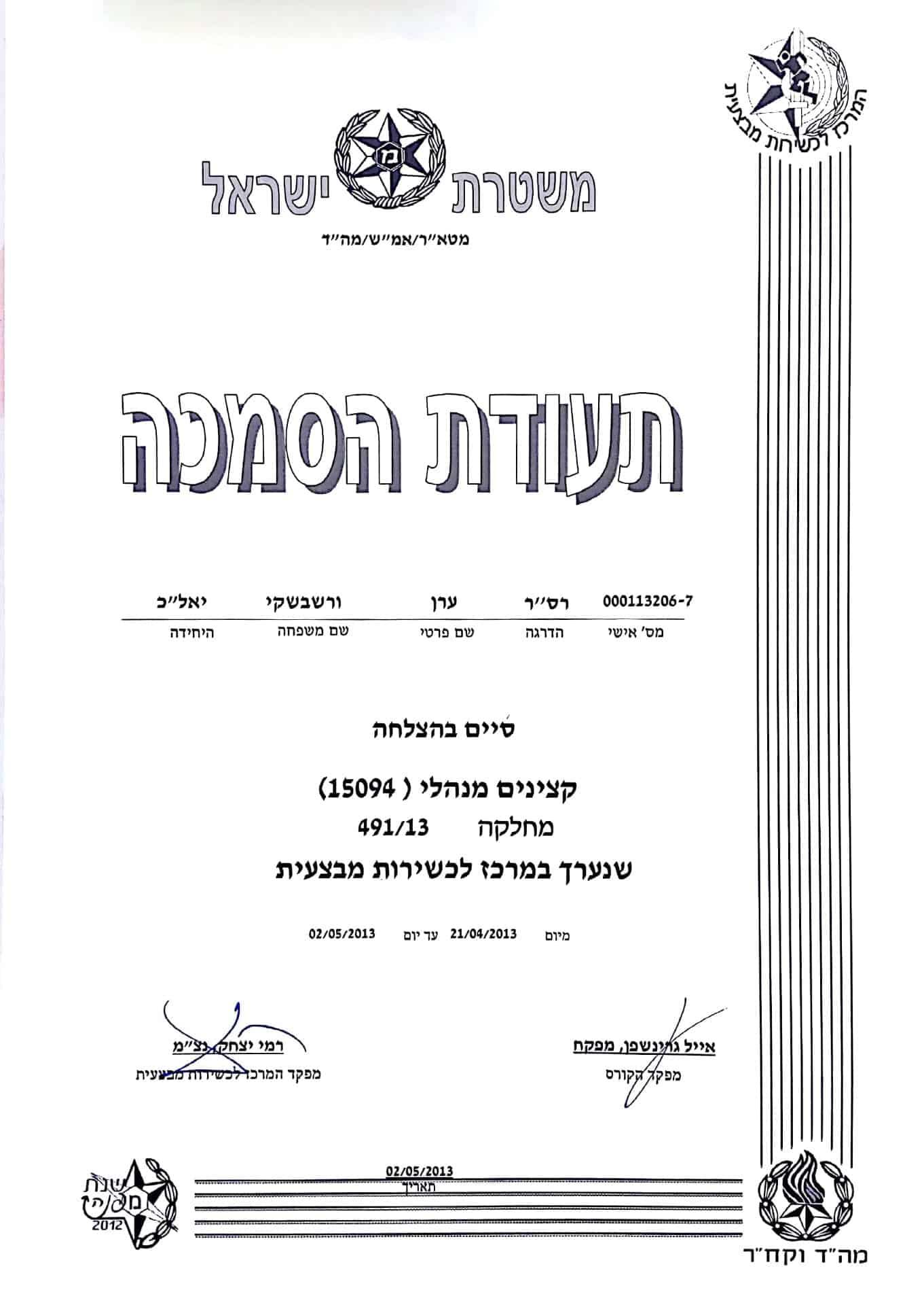 משטרת ישראל - תעודת הסמכה